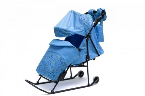 Санки-коляска ABC Academy Зимняя сказка  3В Авто 1516 узор Зоопарк, цвет голубой