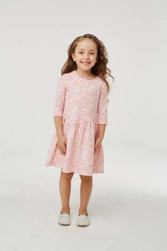 Платье для девочки размер 146, розовое с розами, УМКА
