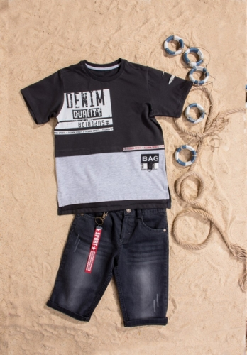 Костюм шорты с футболкой для мальчика, размер 8 лет, черный, Bebus