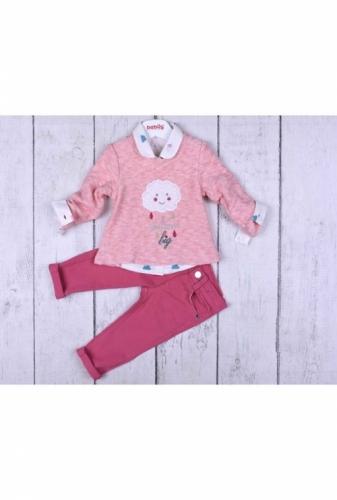 Комплект 3 предмета для девочки, размер 12 месяцев, розовый, Bebus