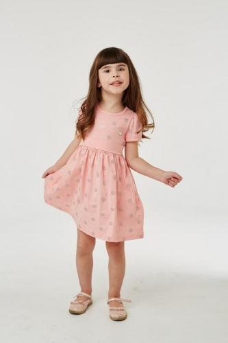 Платье для девочки р.104, розово-оранжевое в горошек UMKA