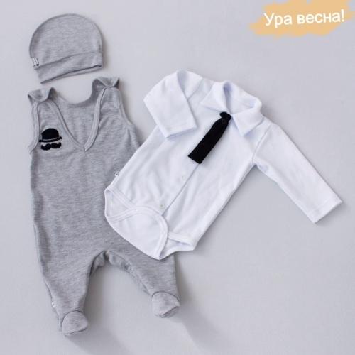 Комплект для мальчика Оксфорд демисезонный Крошкин дом р.18 (рост 56-62 см), бело-серый