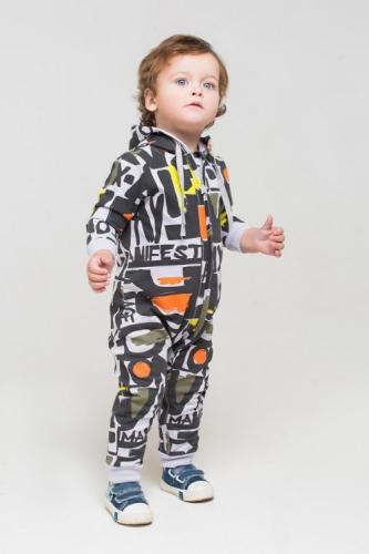 Комбинезон для мальчика, Сrockid манифест на светло-сером, размер 80