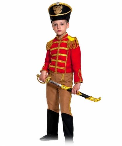 Карнавальный костюм Гусар (замш) красно-бежевый с сапогами new, 5-7 лет