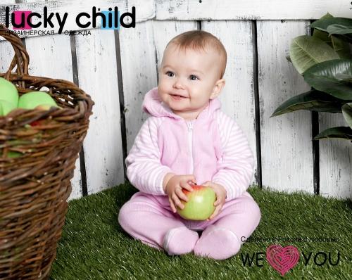 Комбинезон Lucky Child ПОЛОСКИ с капюшоном на молнии (арт. 4-13) экрю,размер 22 (68-74)