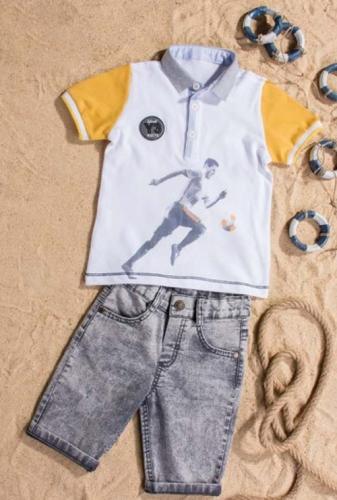 Костюм шорты с футболкой для мальчика, размер 4 года, желтый, Bebus