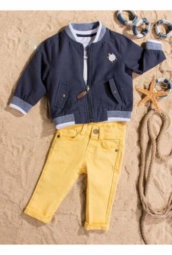 Костюм для мальчика, размер 6 месяцев, темно-синий/желтый, Bebus