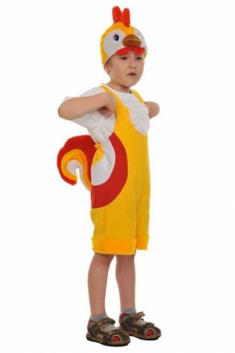 Карнавальный костюм Петушок ткань-плюш (полукомбинезон, маска) 3-6 лет