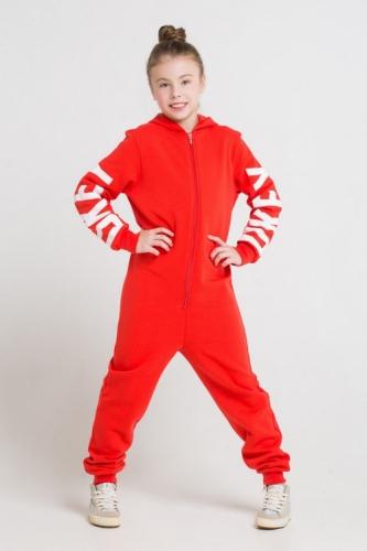 Комбинезон для девочек, Сrockid ярко-красный, размер 134