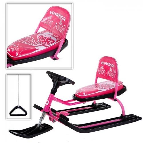 Снегокат Барс SNOWKAT Comfort Vanessa cо складной спинкой, розовая рама - 107