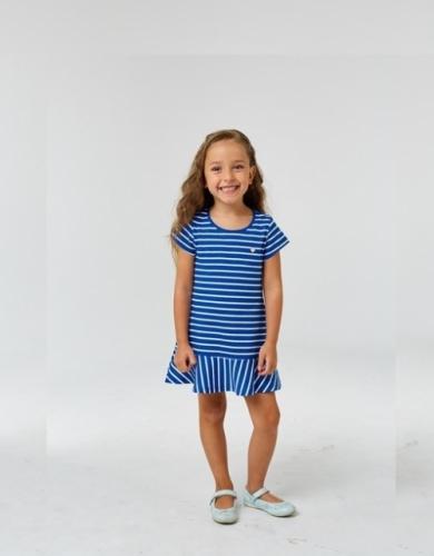 Платье для девочки р.134, бело-синее в полоску UMKA