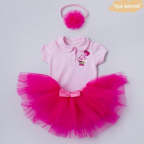 Комплект для девочки Малина демисезонный Крошкин дом р.18 (рост 56-62 см), темно-розовый