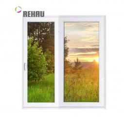 Окно раздвижное Rehau 2100x2000 двухстворчатое ЛР800/ПГ1200 1 стекло