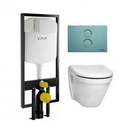 Унитаз подвесной Vitra S50 с сиденьем микролифт, инсталляцией и кнопкой 9003В003-7201