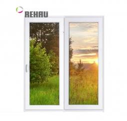 Окно раздвижное Rehau 2100x2000 двухстворчатое ЛР1000/ПГ1000 2 стеклопакет