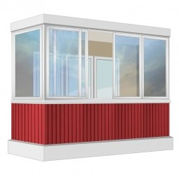Остекление балкона Алюминиевое Provedal с отделкой вагонкой без утепления 3.2 м Г-образное