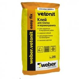 Клей Weber.Vetonit Easy Fix для плитки и керамогранита для наружных и внутренних работ 25 кг